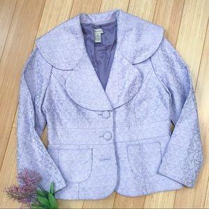 Anthropologie Elevenses Purple brocade jacket, 10.